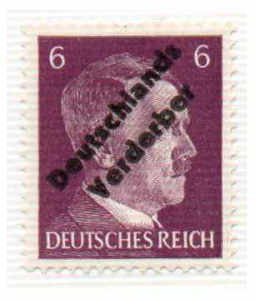 H**ler - Deutschlands Verderber. Briefmarke aus Meissen 1945.